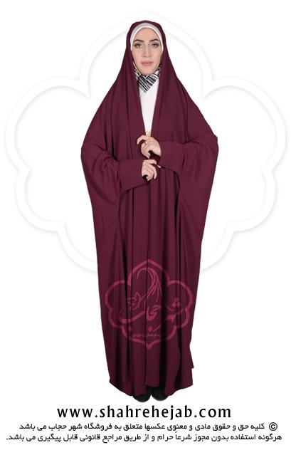 چادر دانشجویی مچدار شهر حجاب کد ۰۱ رنگ زرشکی