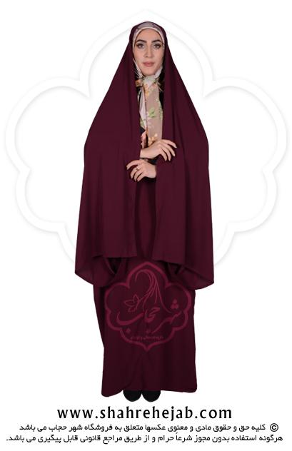 چادر کمری قجری شهر حجاب کد ۰۱ رنگ زرشکی