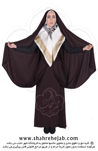 چادر کمری قجری شهر حجاب کد ۰۱ رنگ قهوه ای