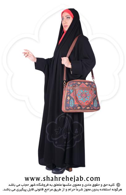 چادر دانشجویی مچدار کرپ کن کن ژرژت شهر حجاب مدل ۸۰۵۰