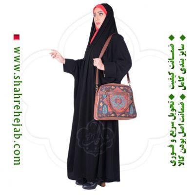 چادر دانشجویی مچدار کرپ حریرالاسود شهر حجاب مدل ۸۰۲۷
