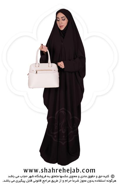 چادر لبنانی شهر حجاب کد ۰۱ رنگ قهوه ای