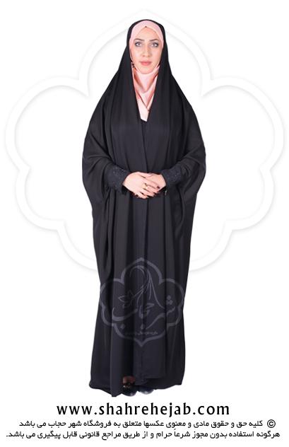 چادر دانشجویی مچدار کرپ کریستال شهر حجاب مدل ۸۰۵۵