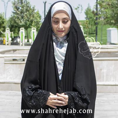 چادر عبایی اصیل گلدوزی کریستال شهر حجاب مدل شکوفه 3002